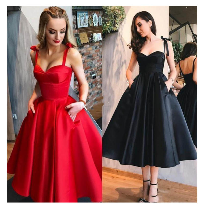 Red Prom Dresses 2019 Spaghetti Straps Black Homecoming Dresses With Pockets A Line Graduation Knee Length Party Gowns