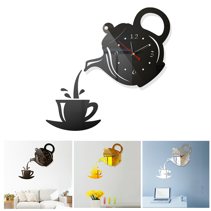 Kitchen Decor Teapot Acrylic Mirror Wall Stickers To The Kitchen Coffee Cup Wall Clock Watch Stickers Dining Room Decal Home
