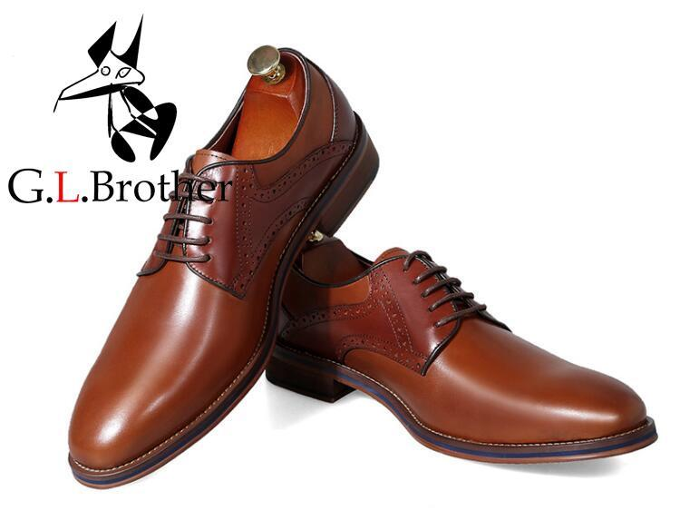 Men's Dress Shoes Genuine Leather Lace Up Carved Brogues Brown Smart Casual Derby Shoes Handmade Male Flats Oxfords цена и фото
