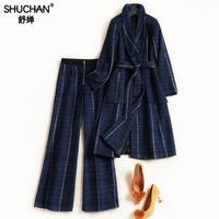 Shuchan 2018 Модные женские костюм плед полушерстяные Длинные пальто + длинные штаны синий зеленый комплект из 2 предметов костюмы 7097