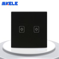 Touch On Off Switch 2 Gang 2 Way Black Crystal Glass Panel EU Standard Wall Switch For Lamp Touch Panel Light Switches
