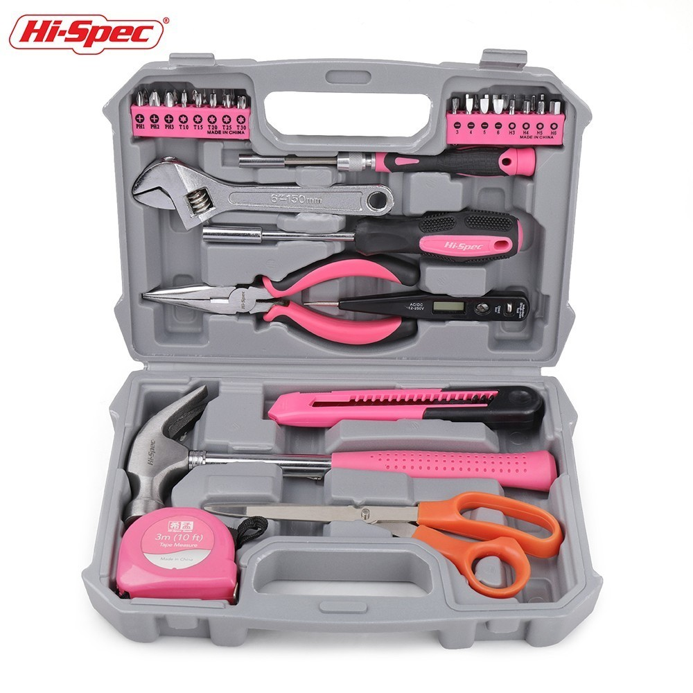 Hi-Spec 45pc Hand Tool Set Pink Girl Lady Women Household Tool Set Home Repair Tools Kits in Toolbox Screwdriver Torque Wrench