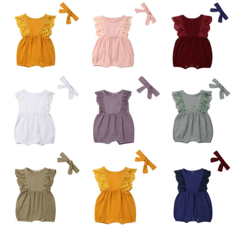 Lovely Baby Girls Summer Cotton   Romper   2019 Newest Newborn Baby Girls Lace Ruffle Sleeves   Romper   Headband Solid Jumpsuit 0-24M