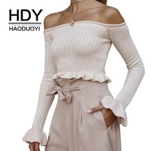 HDY Haoduoyi 2019 New Cute Girl Sweet Pure Fashion Boat Neck Sexy Collar Navel Long-sleeved Sweater