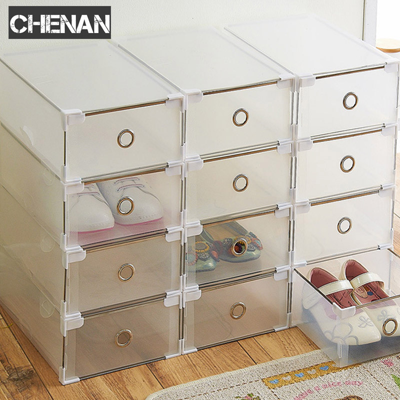 5PCS Eco-Friendly Shoe Storage Box Case Transparent Plastic   Rectangle PP  Organizer Thickened drawer drawer