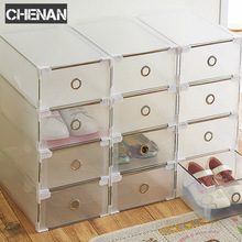 5PCS Eco-Friendly Shoe Storage Box Case Transparent Plastic  Rectangle PP Organizer Thickened drawer