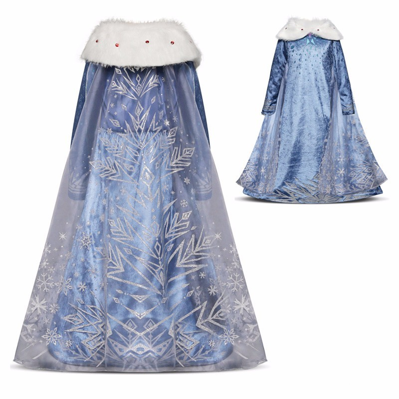 Christmas Girl Anna Elsa Dress Cosplay Costume Autumn Winter Vestidos Girl Printing Princess Dress Elsa Dress for Birthday Party