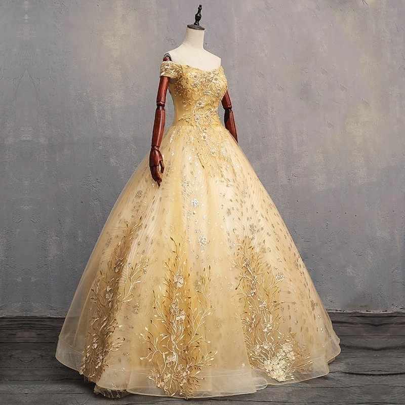 Дешевые золотые бальные платья 2019 сладкий 16 для 15 лет кружево бальное платье платья для выпускного вечера 15 Anos