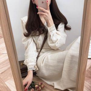 Image 4 - Vintage Cotton Dresses Women Spring Autumn Dress 2019 Design Patchwork Hollow Out Lace Cute Preppy Girls Lady Cute Dress Long
