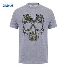 GILDAN Velocitee Mens Military Skull T Shirt Special Ops Camo Army Death Biker 3D Men Hot Cheap Short Sleeve Male T-Shirt