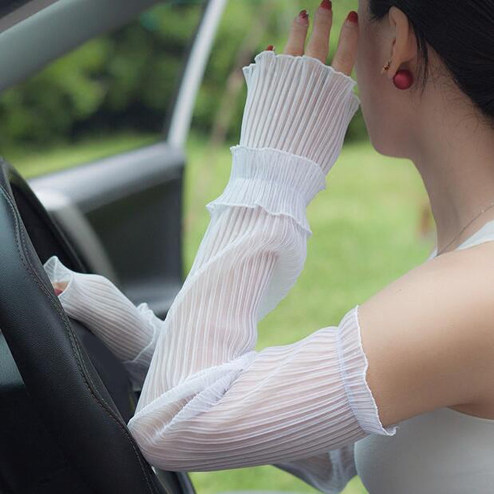 Women Arm Warmers Pleated Yarn Long New Breathable Sunscreen Driving Arm Sleeve Fingerless Gloves Lace Glove Solid White Sport