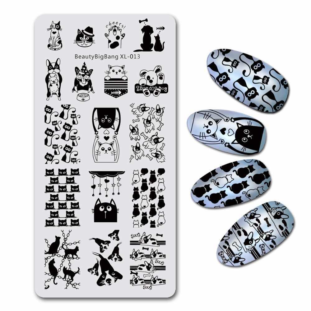 BeautyBigBang Nail Stamping Piatti Pet Elemento Gatto Del Cane di Disegno Del Modello Del Chiodo Template Piastra Rettangolo Stencil Timbro BBB XL-013