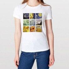 Summer female T-shirt Van Gogh star ulzzang short-sleeved casual fashion Harajuku large size oil painting printing tops