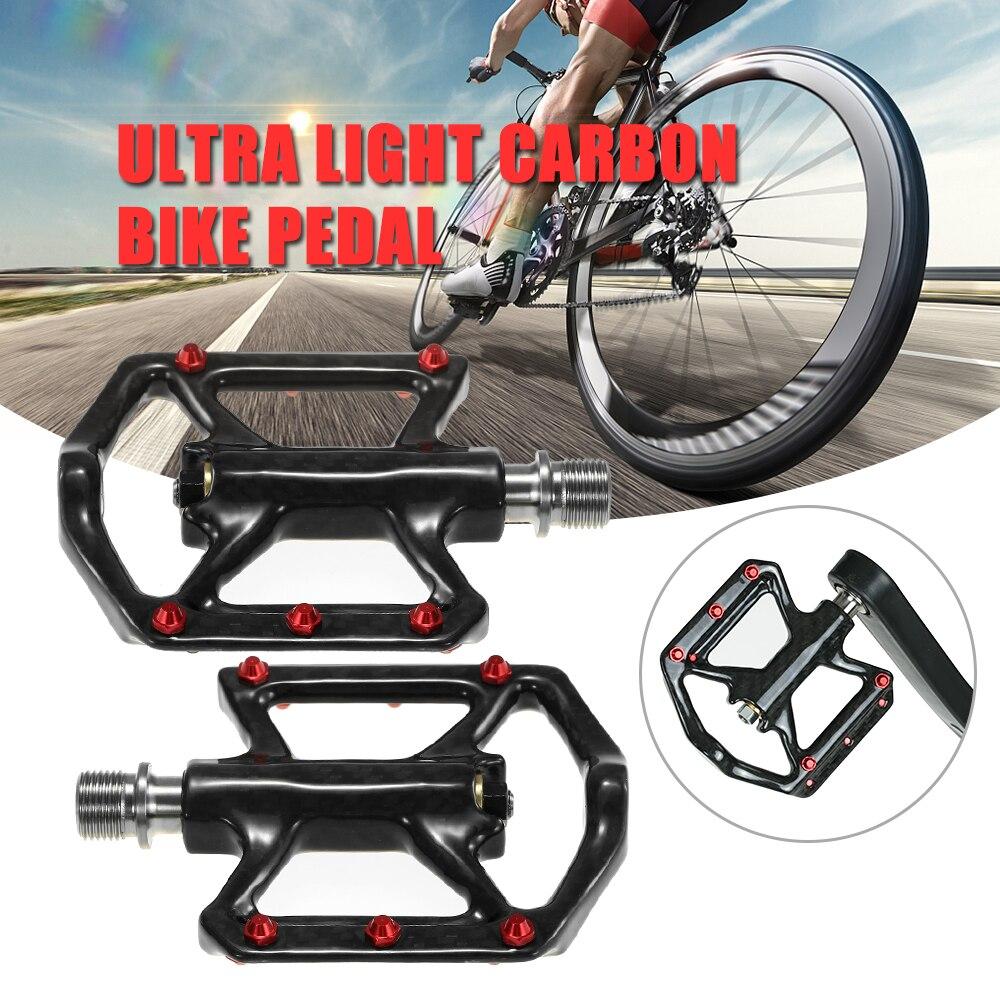 Ultra Léger Vélo Pédales Léger En Fiber De Carbone Plate-Forme Pédales Trois Portant VTT Vélo De Route Vélo Vélo Pédales