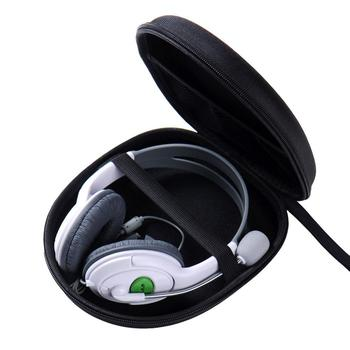 Portable Shockproof Headphone Headset Carry Pouch Black Storage Hard Box Solid Round Bag Bag