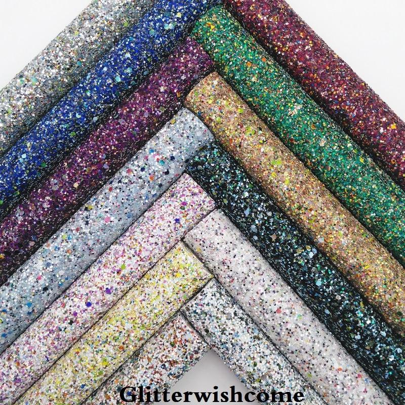 Glitterwishcome 21X29 см A4 Размеры синтетическая кожа, смешанные Цвет Коренастый Блеск, кожа ткань винил для Луки, GM057A