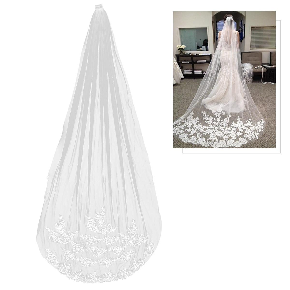 1 Pc Braut Schleier 3 Meter Lange Elegant Anmutig Hochzeit Schleier Haar Zubehör Boden Schleier Für Kommunion Hochzeit Weich Und Leicht