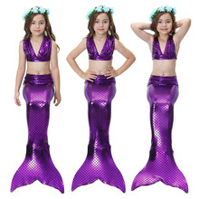 Girls Sexy Mermaid Tail For Swimming Cosplay Swimsuit Kids Sparkle Tails Swimmable Costume Swimwear Sets
