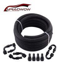 SPEEDWOW AN8 5Meter Rubber Hosing Tubing Fuel Gas Line With 0/45/90/180 Degree Hose End Fitting Adapter Push On Fittings