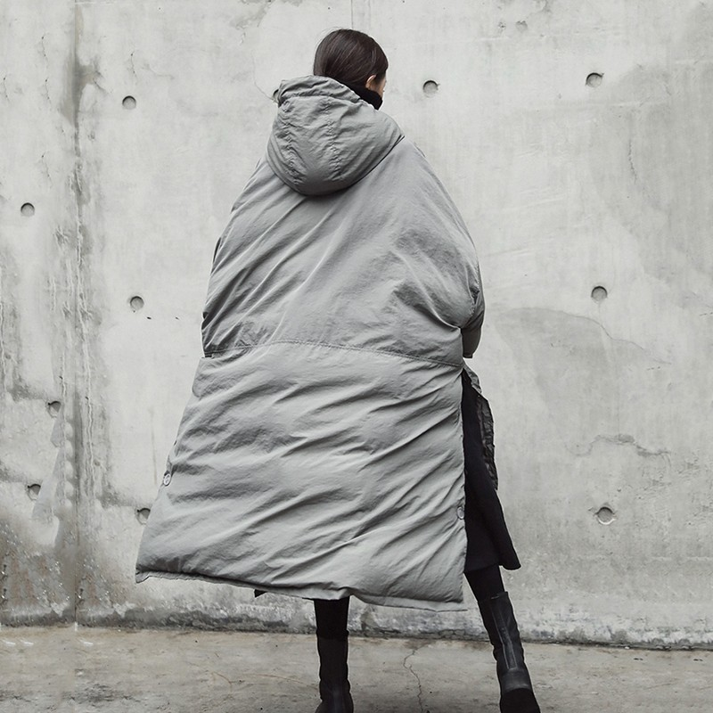 Kadın Giyim'ten Parkalar'de CHICEVER kadın Kış Ceket Kadın Ceket Kapşonlu Uzun Kollu Etek Bölünmüş Gri Kadın Moda günlük kıyafetler Yeni'da  Grup 3