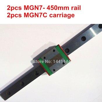 MGN7 Miniature linear rail:2pcs MGN7 - 450mm rail+2pcs MGN7C carriage for X Y Z axies 3d printer parts