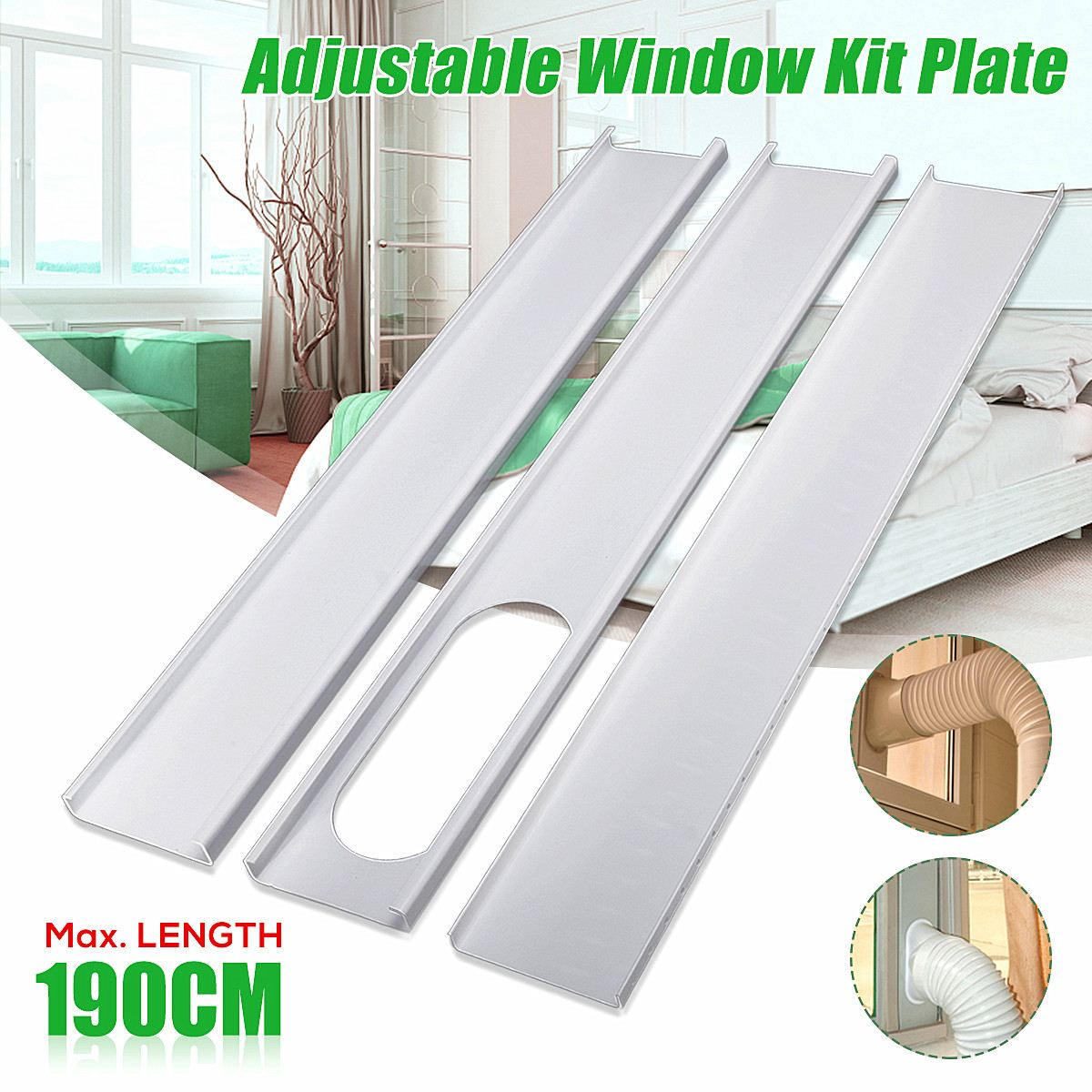 3Pcs Adjustable 190cm Air Conditioner Window Slide PVC Plate Exhaust Hose Tube Connector Kit For Portable Air Conditioner