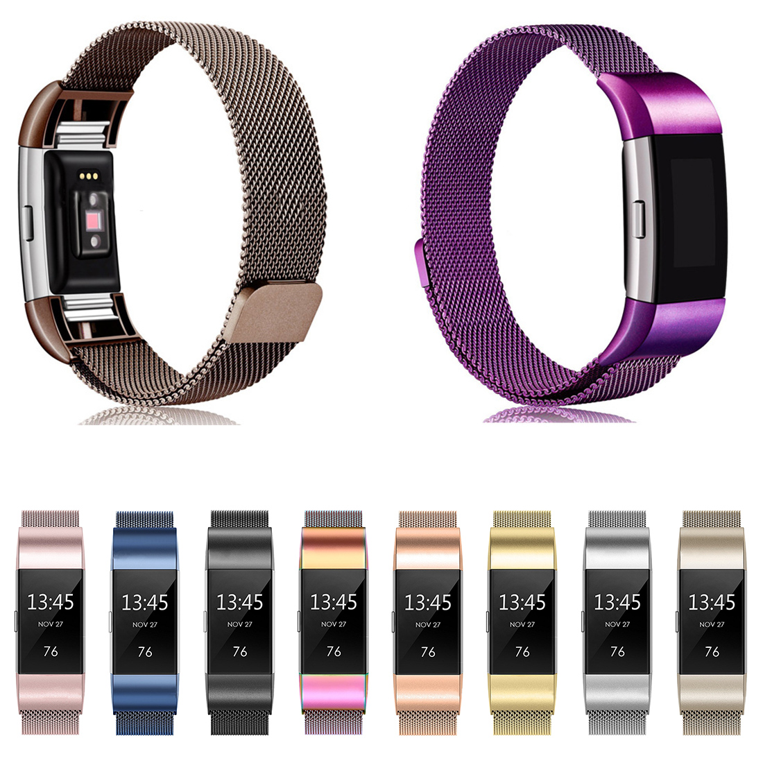 Centechia For Fitbit Charge 2 Hr Band Strap Replacement Wrist Bracelet Stainless Steel For Fit Bit Charge2 Smart Watch S L Size