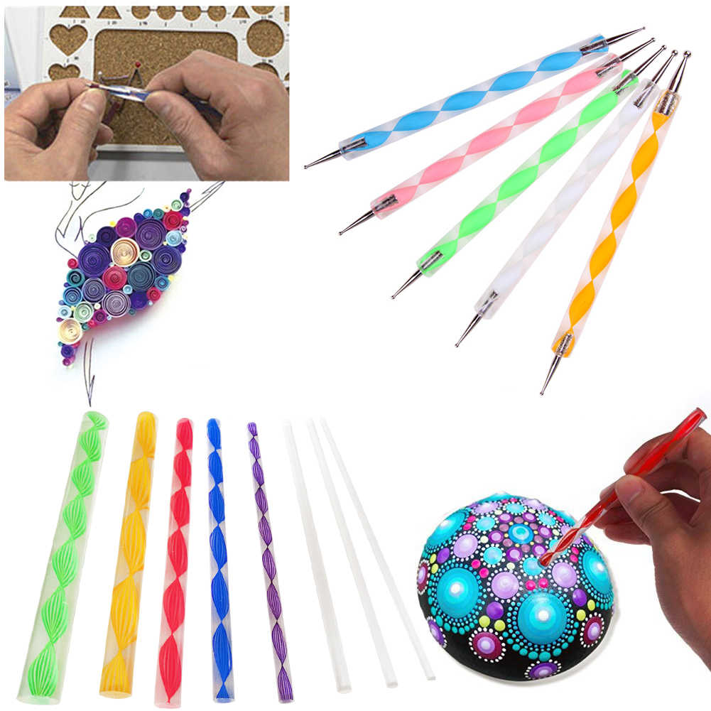 5pcs 8pcs Nail Stamp Stencil Tool Template Rock Painting Dotting Rod Ball Stylus Pottery Clay Craft Acrylic