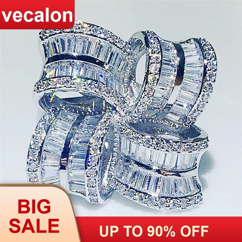 Vecalon большой роскошный цветок кольцо 925 стерлингового серебра T форма кубического циркония обручение обручальное кольца для женщин украшен