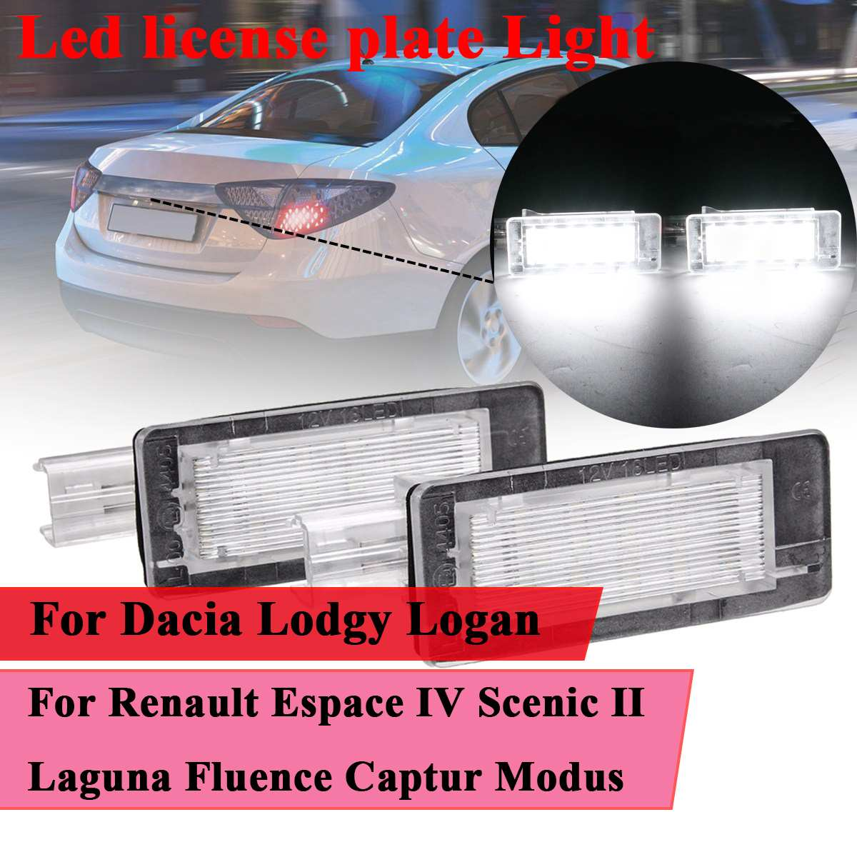 #8200013577 Car <font><b>Led</b></font> license plate Light For <font><b>Renault</b></font> Espace IV Scenic II III Laguna II Fluence Captur Modus For Dacia Lodgy Logan image