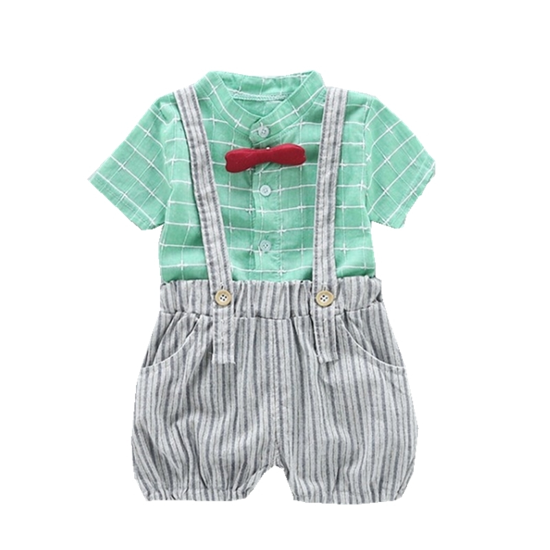 Fashion Summer Children Infant Boy Girl Clothes Plaid Shirt Strap Shorts 2pcs Sets Childing Toddler Clothing Cotton Tracksuits in Clothing Sets from Mother Kids