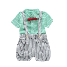все цены на Fashion Summer Children Infant Boy Girl Clothes Plaid Shirt Strap Shorts 2pcs/Sets Childing Toddler Clothing Cotton Tracksuits онлайн