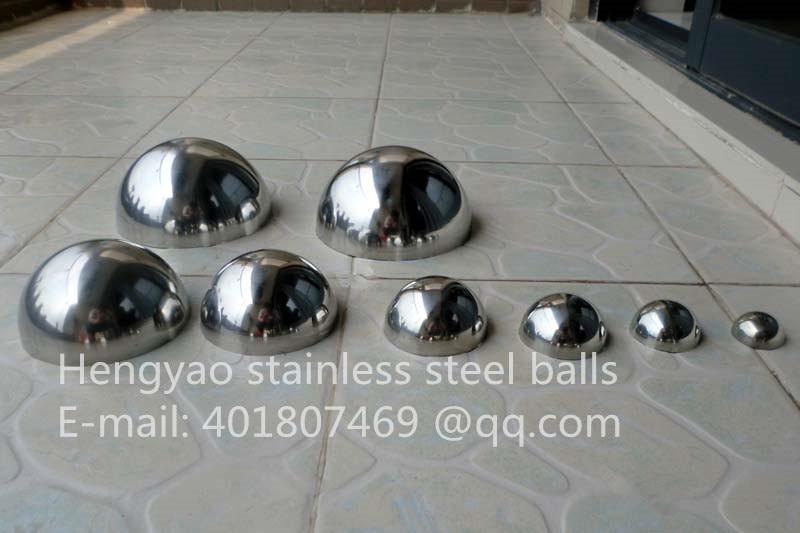 Silver Dia 80mm 8 cm 201 rustfrit stål hul halvkugleformet poleret spejlhejs dekorativt halvkugle stålrørcover