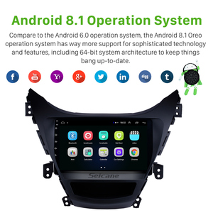 "Image 2 - Seicane Android 8.1 9"" GPS Navigation 2din Car Radio For Hyundai Elantra 2011 2012 2013 With 1080P DVR Steering Wheel Control"