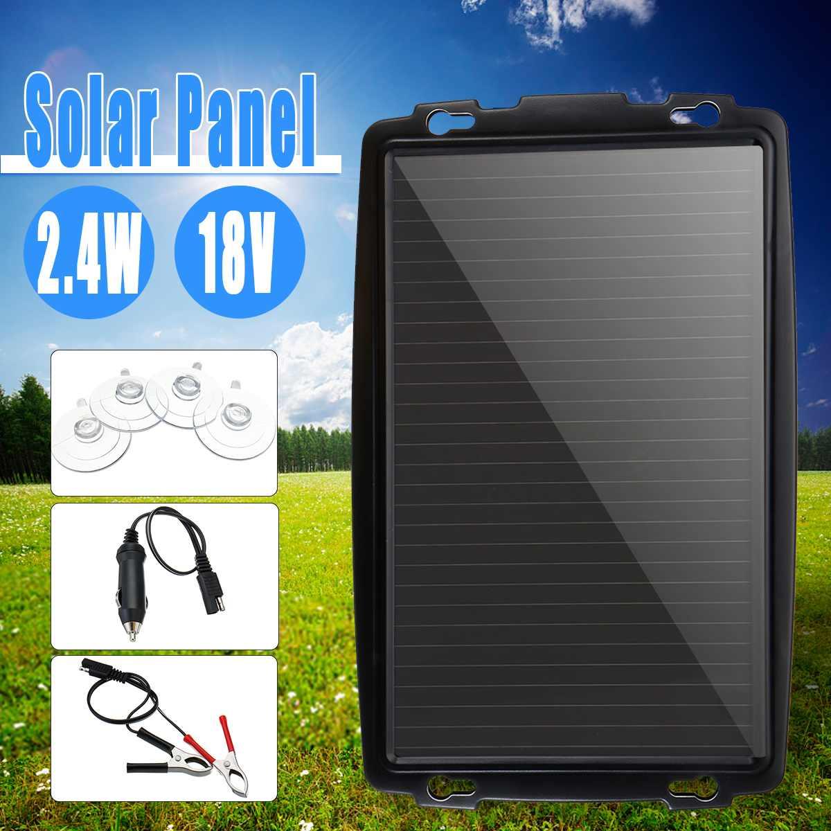 Chargeur portatif de Trickle de batterie de silicium de panneau solaire de 18 V 2.4 W pour le véhicule de voiture de bateau chargeant la puissance extérieure amorphe détachable