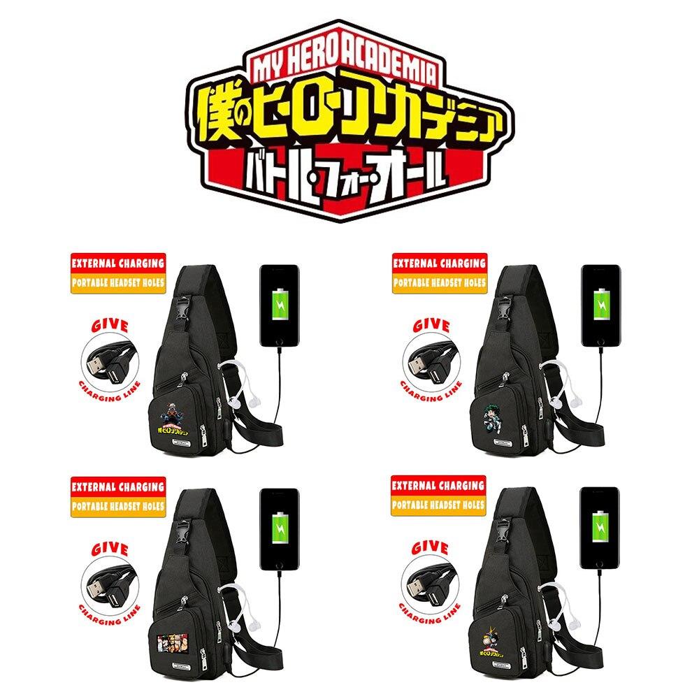 Anime My Hero Academia Izuku Midoriya Katsuki Bakugou USB Charging Chest Pack Crossbody Bag Messenger Bag Casual Shoulder Bag