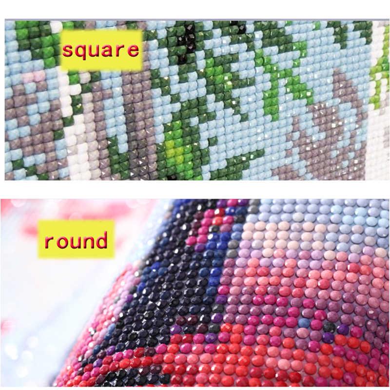5D Diy Praça Cheia de flores de cerejeira árvore Venda Primavera Paisagem Pintura Retrato Diamante Diamante Bordado De Strass Mosaico