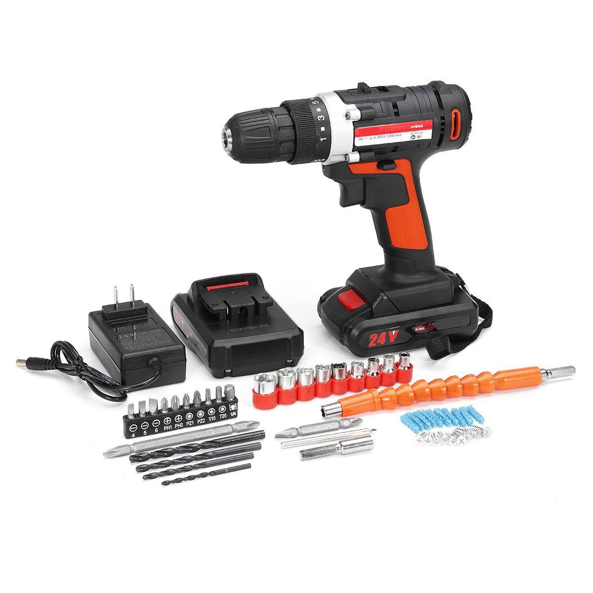 24V Cordless Drill Rechargeable Electric Screwdriver Multifunction Power Tools 2 Li-Ion Battery 2 Speed 3/8 Chuck LED Lighting24V Cordless Drill Rechargeable Electric Screwdriver Multifunction Power Tools 2 Li-Ion Battery 2 Speed 3/8 Chuck LED Lighting