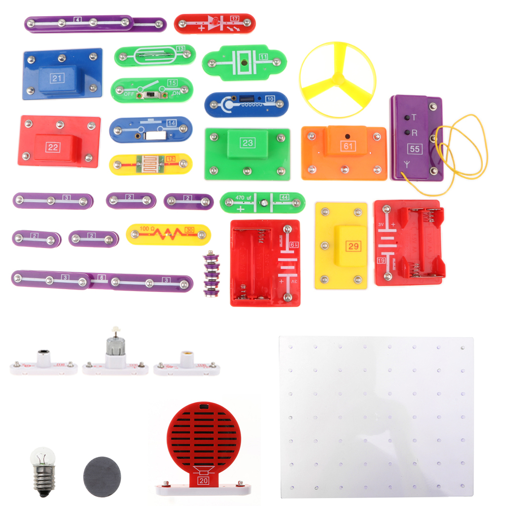 W-5889 Electronics Exploration Kit DIY Building Blocks Kids Science Learning Toy | 5889 Projects | English Manual | 44 Pieces | diy kit turbo air connex electronics physical science education toy