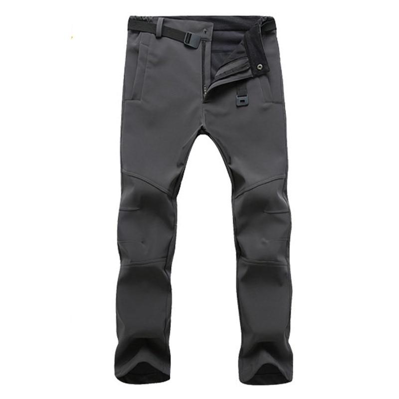 Zimní Outdoor Kalhoty Horolezectví Turistika Kalhoty Muž Lyžování Pant Softshell Fleece Pánské kalhoty Fitness Sportovní Lov Rybářské Pant