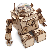 Robotime Robot Model Wooden Gear DIY 3D Model Building Kits Puzzle Steampunk Music Box with Love Theme Burlywood