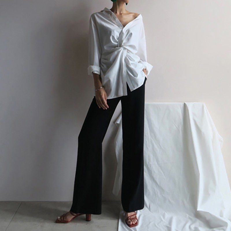 TWOTWINSTYLE Casual White Women's Blouse Off Shoulder V Neck Waist Cross Long Sleeve Loose Korean Top Female Clothes Spring 2019