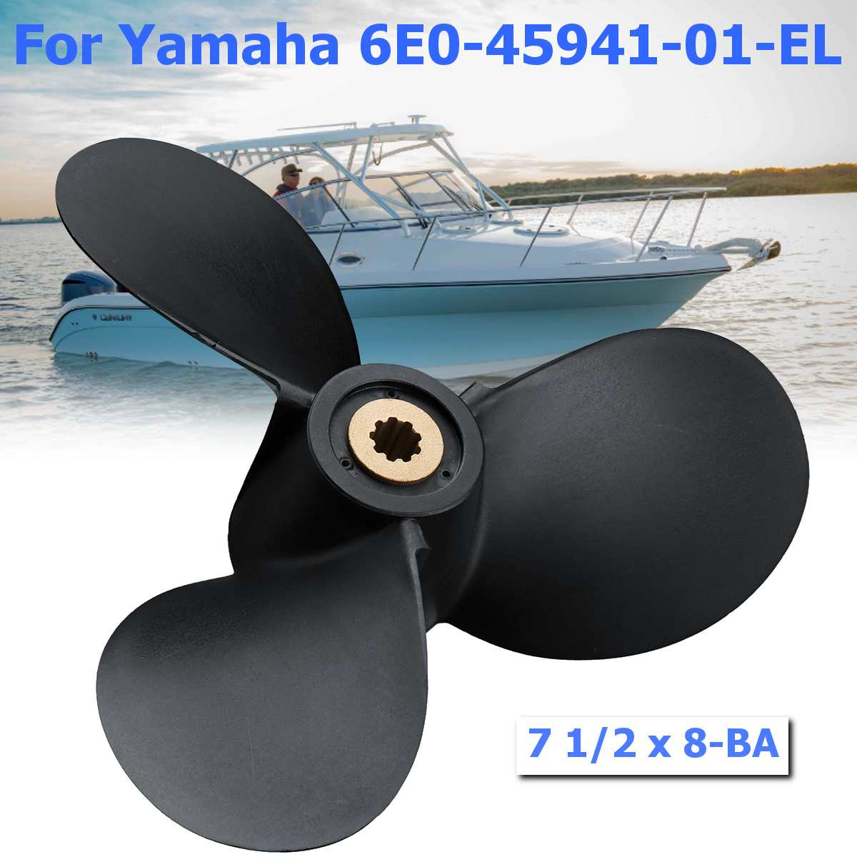Hors-Bord Marine Hélice 6E0-45941-01-EL 7 1/2x8-BA Pour Yamaha Mariner 4HP-6HP 3 Lames Noir En Plastique + Métal 9 Spline dents de