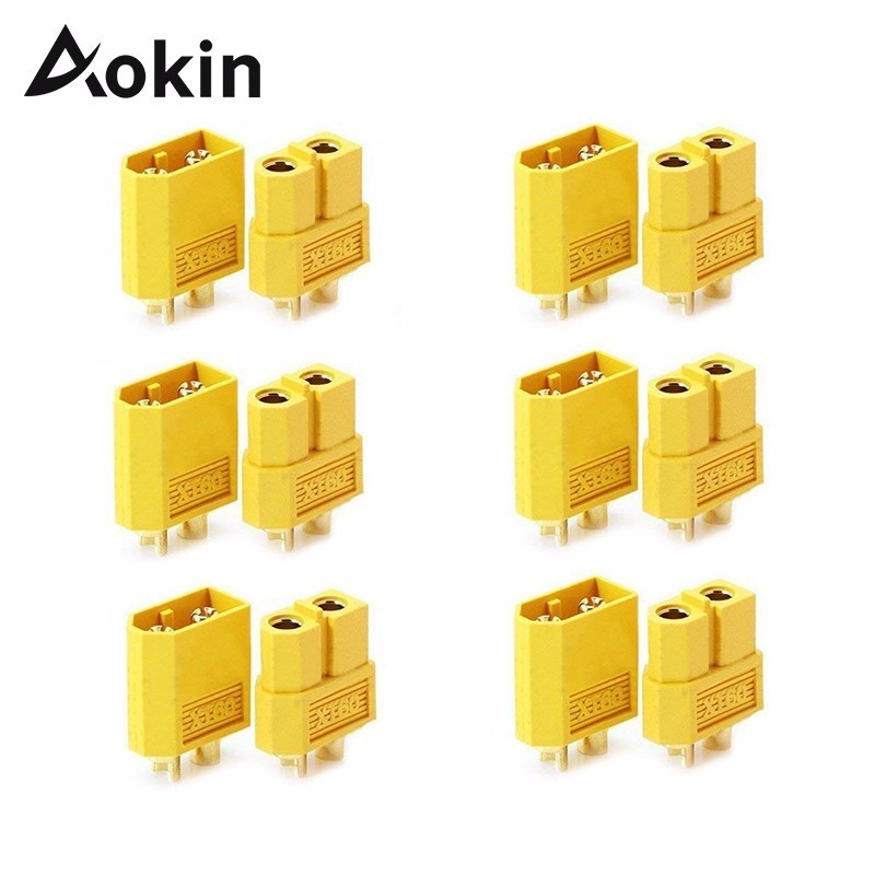 Aokin 10pcs/20pcs XT60 Male To Female Type T Connector Adapter For DIY RC Model Li-Po Battery ESC Charger
