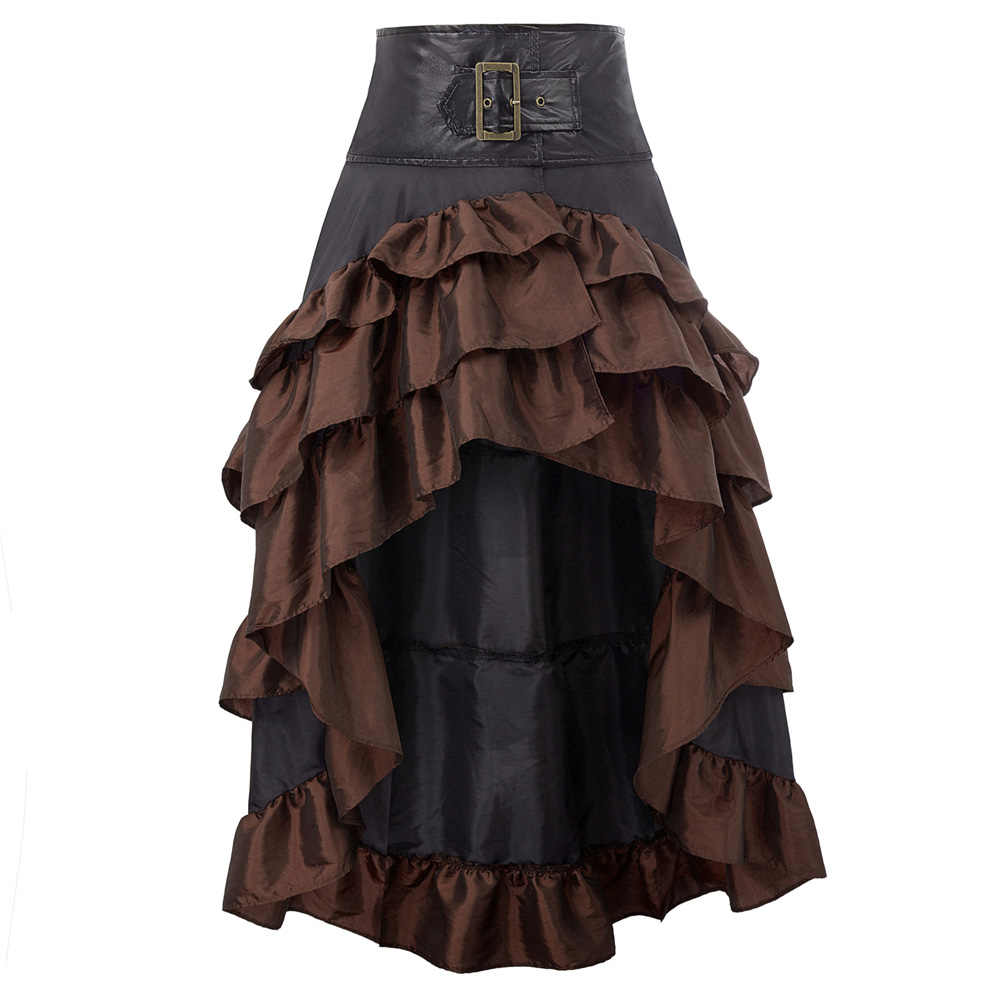 cool skirts Womens Retro Vintage faldas party club wear Steampunk Gothic Open Front Ruffled High-Low long maxi Skirt jupe femme
