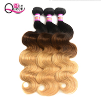 May Queen Ombre Brazilian Body Wave Bundles 1B/4/27 Three Tone blonde Color Human Hair Weave Non Remy Ombre Hair Extensions