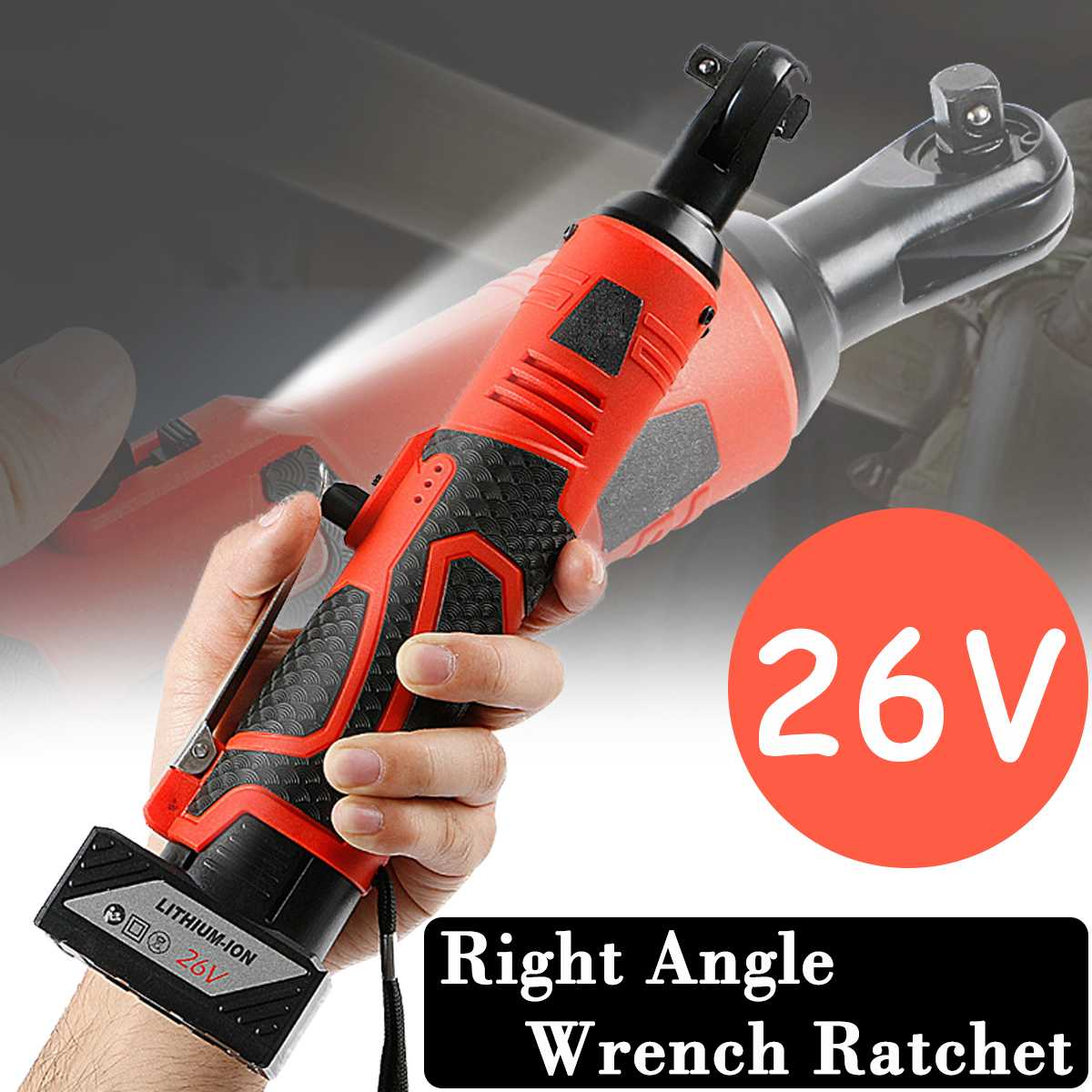 26V Cordless Electric Wrench 3 8 Inch Electric Ratchet Wrench Lithium Battery Right Angle Wrench with