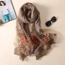 ブランド 2020 夏新女性シルクスカーフファッション刺繍高品質ソフトウールスカーフ女性パシュミナショールバンダナスカーフ