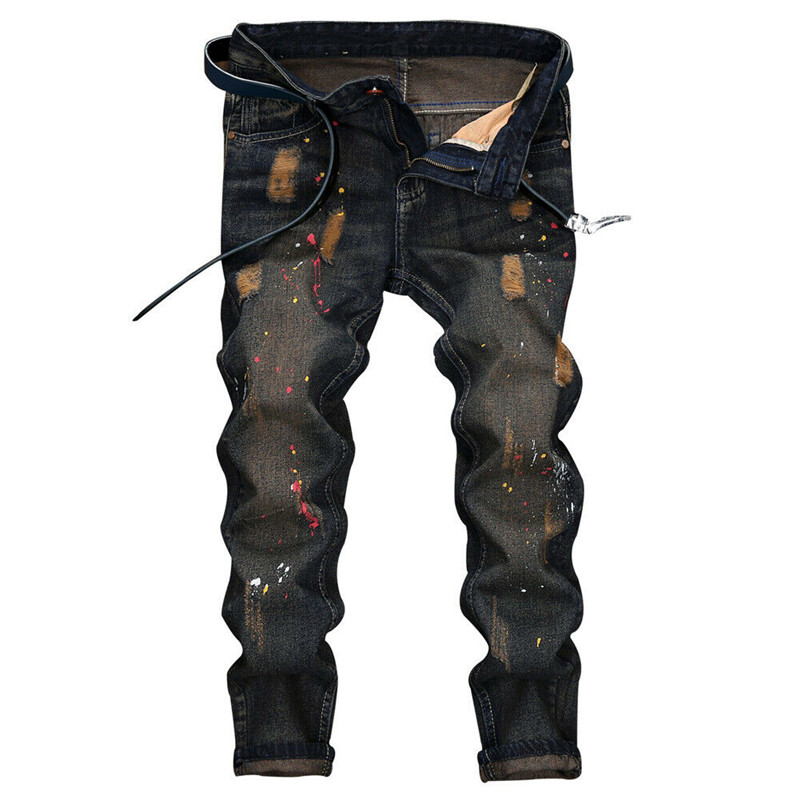 New classical style armored mans hole washed scrub old spotted tight denim