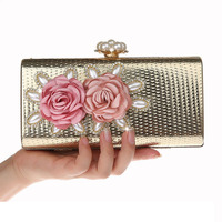 37c539537 Luxury Crystal Clutch Evening Bag Golden Flower Party Purse Women Wedding  Bridal Handbag Pouch Soiree Pochette